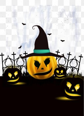 Halloween Party Poster Pumpkin And Witch Hat - Halloween Party Jack-o'-lantern Trick-or-treating PNG