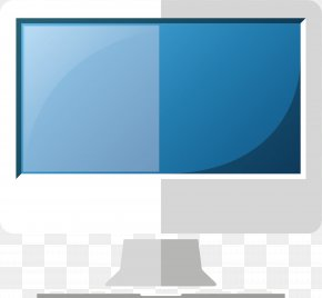 Hand Painted Blue Computer Screen - Computer Monitor PNG