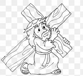 Jesus Easter - Stations Of The Cross Catechism Holy Week Lent Drawing PNG
