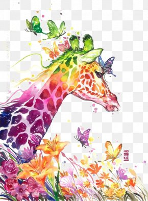 Color Giraffe - Watercolor Painting Giraffe Visual Arts Drawing PNG