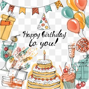 Vector Decorative Birthday Celebration Party - Birthday Cake Greeting Card Taobao PNG