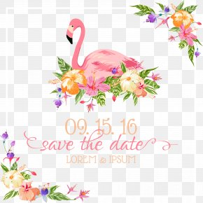 Hand-painted Colorful Flowers - Flamingo Wedding Invitation Euclidean Vector Illustration PNG