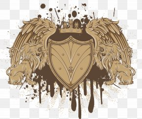 Brown Wings Shield - T-shirt Heraldry Escutcheon PNG