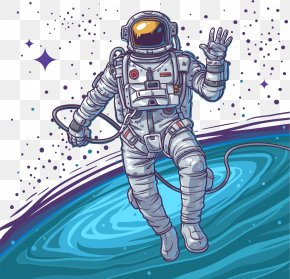 Vector Hand-painted Universe - Astronaut Euclidean Vector Stock Photography Space Suit PNG