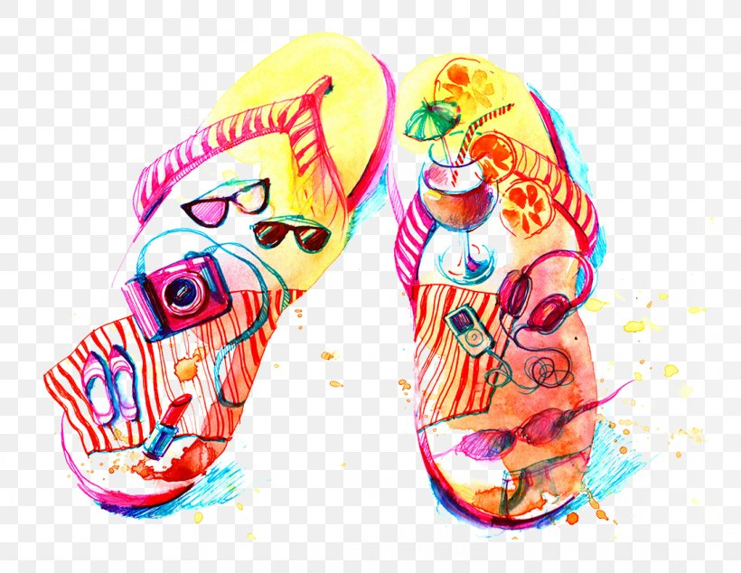 Flip-flops Watercolor Painting Drawing Illustration, PNG, 1100x851px, Flipflops, Architecture, Designer, Drawing, Flip Flops Download Free