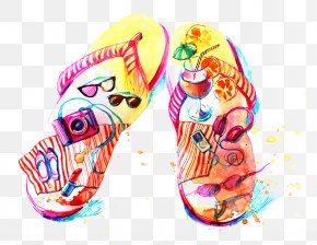 Drawing Sandals - Flip-flops Watercolor Painting Drawing Illustration PNG
