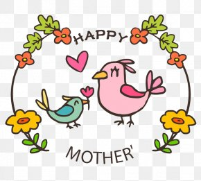 Cartoon Bird Mother And Bird - Mothers Day T-shirt Gift Clip Art PNG