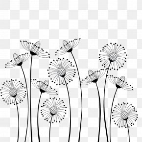 Dandelion - Flower Cartoon Black And White Drawing Clip Art PNG