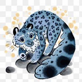 Vector Blue Clouded Leopard - Clouded Leopard Snow Leopard Illustration PNG