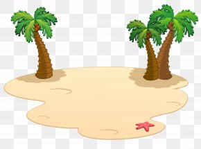 Beach Palms Clipart - Cartoon Beach PNG