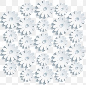 Three-dimensional Flowers Vector Material - Floral Design Chrysanthemum Blue Cut Flowers Black And White PNG