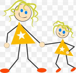 Mother And Daughter Clipart - Mother Daughter Stick Figure Clip Art PNG