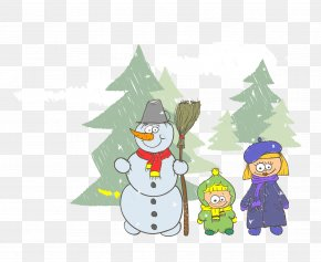 Vector Snowman - Drawing Stock Illustration Snowman Illustration PNG