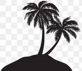 Island With Palm Trees Silhouette Clip Art Image - Arecaceae Silhouette Clip Art PNG