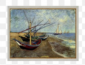 Oil Paintings - Van Gogh Museum Fishing Boats On The Beach At Saintes-Maries Painting Canvas PNG