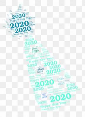 Turquoise Aqua - Happy New Year Logo 2020 PNG