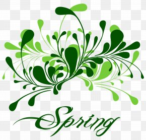Green Spring Decor Clipart - Spring Break Clip Art PNG
