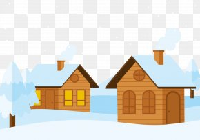 A Cabin In The Snow - Snow Log Cabin Cottage PNG