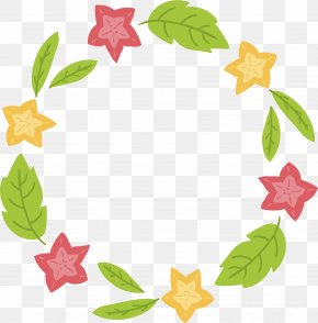 FivePointed Flowers Decorative Frame - Flower Clip Art PNG
