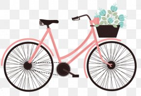 Filled With Pink Flowers Vector Material Cycling - Life Is Like Riding A Bicycle. To Keep Your Balance You Must Keep Moving. Cycling Sticker Clip Art PNG