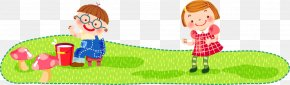 Cartoon Vector Children Playing In The Grass - Cartoon Child Illustration PNG