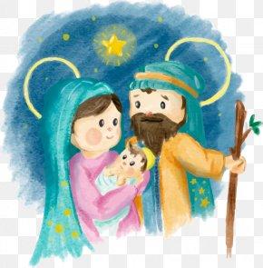 Hand-painted Watercolor Nativity - Mary Christmas Nativity Of Jesus Nativity Scene Manger PNG