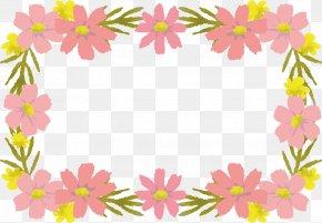 Pink Flower Border Frame - Pink Floral Design PNG