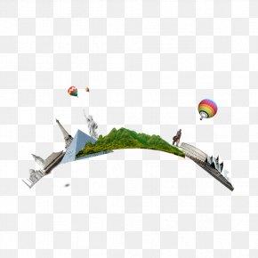 Arc-shaped City Landmarks - Beak Bird City Illustration PNG