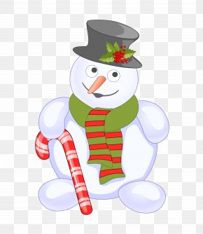 Christmas Snowman - Candy Cane Snowman Christmas Clip Art PNG
