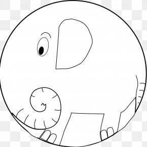 Elephant Line Art - White Circle Area Angle Clip Art PNG