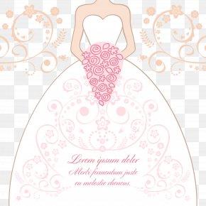 Wedding Illustration - Bride Contemporary Western Wedding Dress Illustration PNG