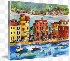 Painting - Sestri Levante Watercolor Painting Gallery Wrap Art PNG