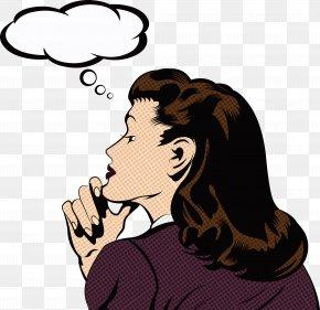 Thinking Woman - Pop Art Illustration PNG