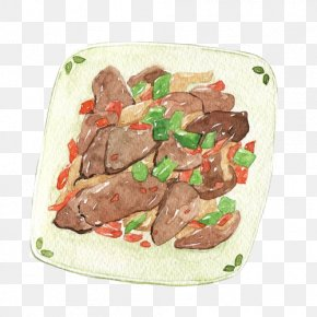 Fried Tongue Hand Painting Material Picture - Xi An Chinese Cuisine Watercolor Painting Food Illustration PNG