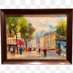 Oil Painting - Oil Painting Paris Street; Rainy Day Art PNG