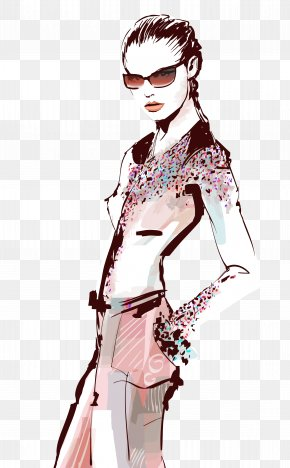 Watercolor Strokes Vector Illustration Beauty And Fashion Template - Fashion Model Euclidean Vector Drawing Illustration PNG