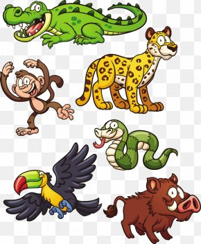 Cartoon Animals - Jungle Animal Snake Jaguar Clip Art PNG