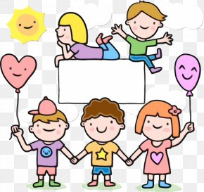 Finger Cheek - Cartoon People Child Playing With Kids Sharing PNG