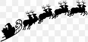 Sleigh Silhouette Cliparts - Reindeer Santa Claus Silhouette Sled Clip Art PNG