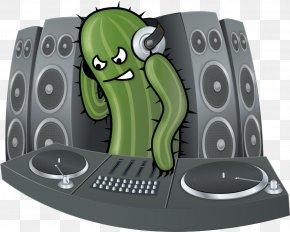 DJing Cactus - Disc Jockey Cactaceae DJ Mixer Clip Art PNG