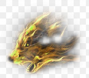 Yellow Atmosphere Flame Animal Effect Element - Gray Wolf Download PNG