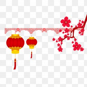 Peach Blossom Spring Festival Lantern Decorative Pattern - Chinese New Year Traditional Chinese Holidays Lantern Festival Red PNG