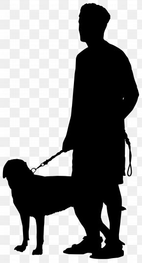Man With Dog Silhouette Transparent Clip Art Image - Dog Walking Silhouette Clip Art PNG
