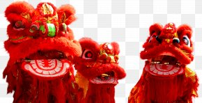 New Year Decoration Red Lion - Lion Dance Chinese New Year Dragon Dance PNG