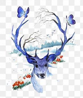 Watercolor Deer - Creative Watercolor Deer Watercolor Painting Illustration PNG