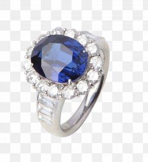 Sapphire Ring Diamond Pieces - Sapphire Ring Diamond Jewellery Necklace PNG