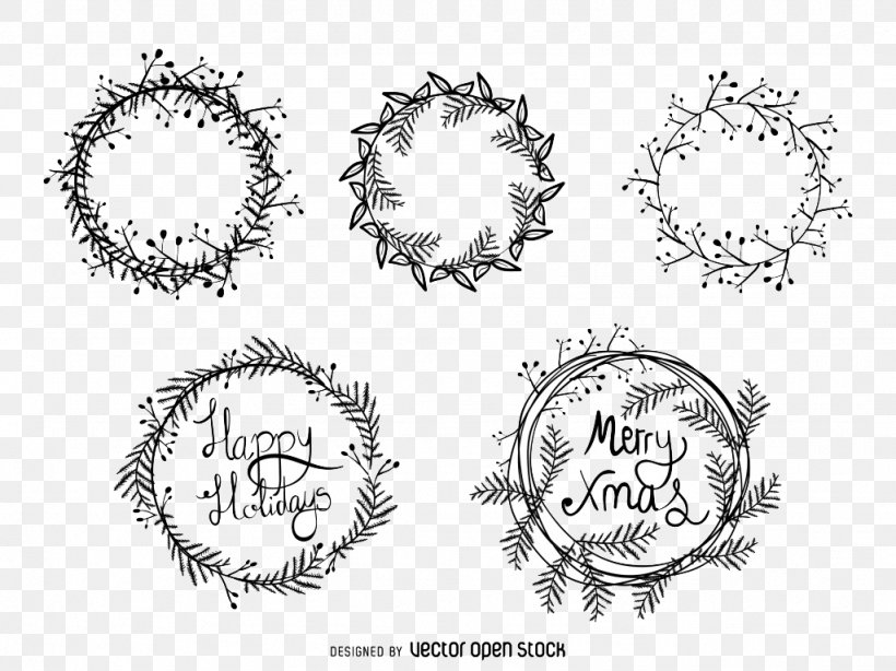 Christmas Wreath Drawing Illustration
