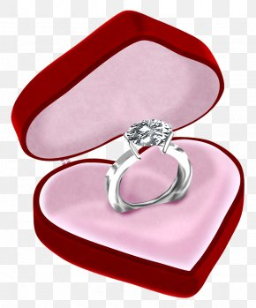 Diamond Ring In Heart Box Clipart Picture - Engagement Ring Jewellery Diamond PNG