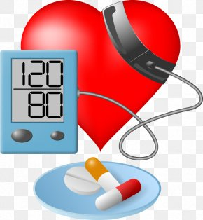 Vector Heart And Blood Pressure Meter - Blood Pressure Hypertension Sphygmomanometer Clip Art PNG