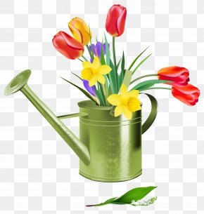 Green Watering Can With Spring Flowers Clipart - Flower Spring Clip Art PNG